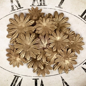Decorative Paper Flowers by Prima Marketing / Paper Petal / Gold