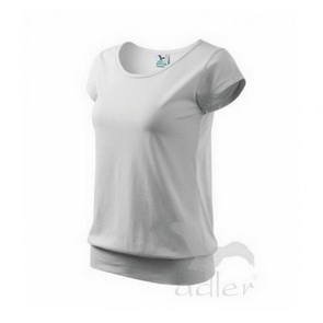 Women´s  Cotton T-Shirt with Banded Hem / White / size L