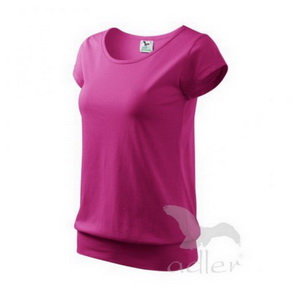 Women´s  Cotton T-Shirt with Banded Hem / Purple / size M