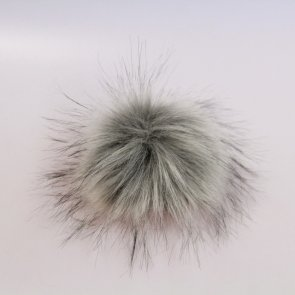 Pompons small / Light Grey With Black Tips