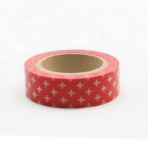 Washi Tape / Red with White Plus