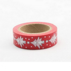 Washi Tape / Red with White Christmas Trees