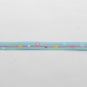 Decorative Ribbon / 10 mm  / Dots and Stripes in Blue
