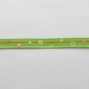 Decorative Ribbon / 10 mm / Dots and Stripes in Green