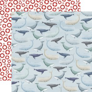 Scrapbooking Paper / Carta Bella / By the Sea / Whales