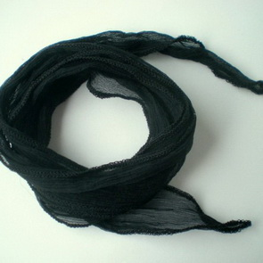 Silk Crinkle Chiffon String / Thick / Black