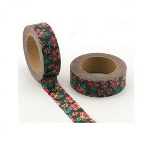 Washi Tape / Black with Color Flowers