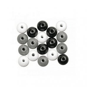 Wooden Beads / Rayher / Black & White Mix