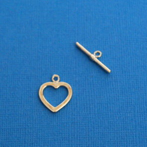 Toggle Clasp Heart / 5 pieces / Platinum