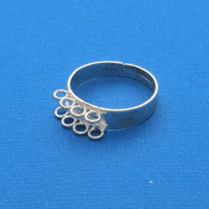 Ring Base with Loops / 5 pieces / two rows / 18 mm / Silver