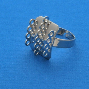 Ring Base with Loops / 5 pieces / three rows / 19 mm / Platina
