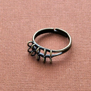 Ring Base with Loops / 5 pieces / two rows / 19 mm / Antiqued Bronze