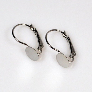 Leverback Earwire with Round Bezel / 20 pieces / 20 mm / Platina