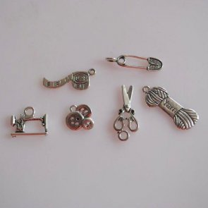 Pendant Set / 6 pc / Antique Silver