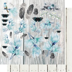 Scrapbooking Paper by 13 Arts / Blue Magnolia / Flowery Day