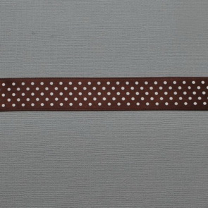 Decorative Ribbon / 20 mm / Coffee Brown with White Dots