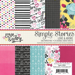 Sada scrapbookových papírů Simple Stories / Love & Adore