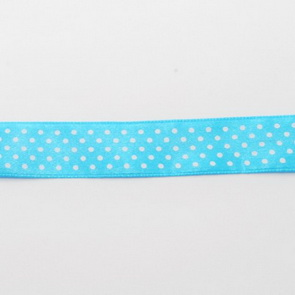 Decorative Ribbon / 20 mm / Light Blue with White Dots