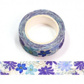 Washi Tape / Violet and Blue Flowers