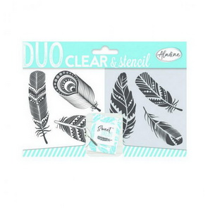 Aladine Silicone Stamps and Stencil / Feathers
