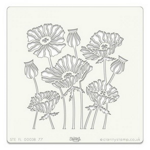 Plastic Stencil by Claritystamp / Poppies