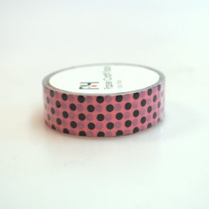 Washi Tape / Pink with Black Dots