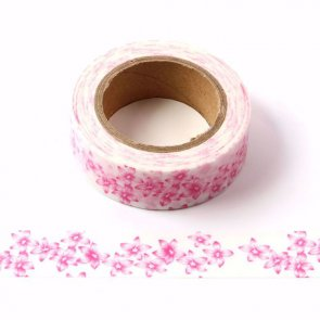 Washi Tape / White with Pink Flowers