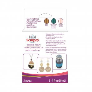 Set of liquid polymer clay, 3 pcs / Glam Metallics