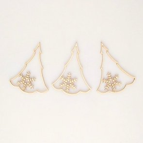Chipboards / Wycinanka / Christmas Trees with Snowflake