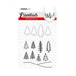 Silicone Stamps and Metal Cutting Dies Set by Studio Light / Christmas Trees