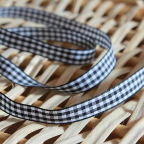 Decorative Ribbon / 1 m / Black and White Checkered