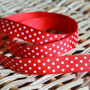 Decorative Ribbon / 1 m / Red with White dots