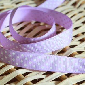 Decorative Ribbon / 1 m / Violet with White Dots