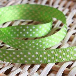 Decorative Ribbon / 1 m / Green with White dots