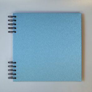 Cardboard Album with Shiny Light Blue Cover / 22 x 22 cm / White Paper