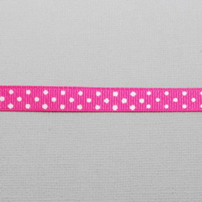 Decorative Ribbon / Dark Pink with White Dots