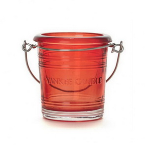 Yankee Candle Holder / Glass Bucket / Red