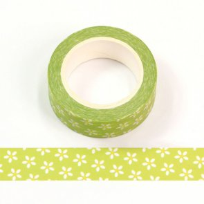 Washi Tape / Green with White Flowers