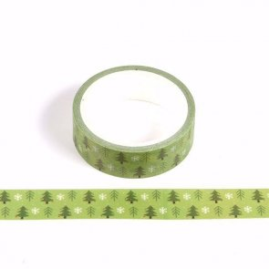 Washi Tape / Green with Christmas Trees