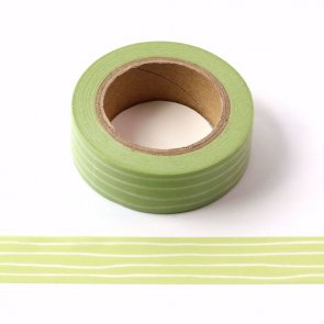 Washi Tape / Green with White Stripes
