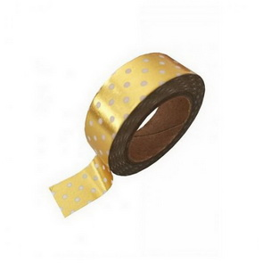 Washi Tape / Metallic Golden with White Dots