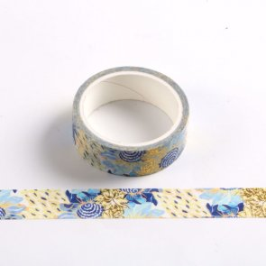 Washi Tape / Gold with Blue Flowers