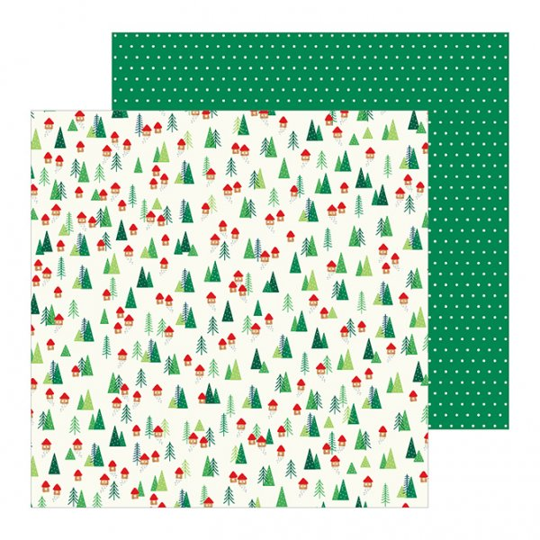 Christmas Scrapbook Paper.Scrapbooking Paper By Pebbles Cozy Bright Home For Christmas